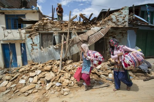 A 7.8 magnitude earthquake struck Nepal and India on April 25, 2015. CRS, Caritas and its local partners are responding with much needed relief in the affected areas. Photo by Jake Lyell for Catholic Relief Services