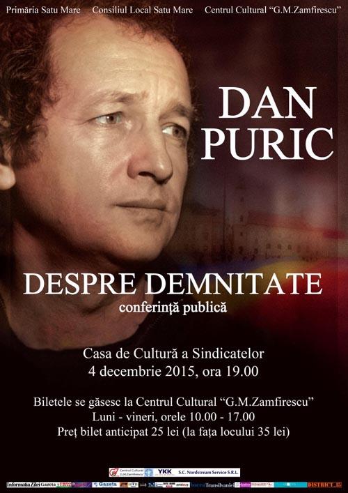 Afis Conferinta Dan Puric 4 decembrie