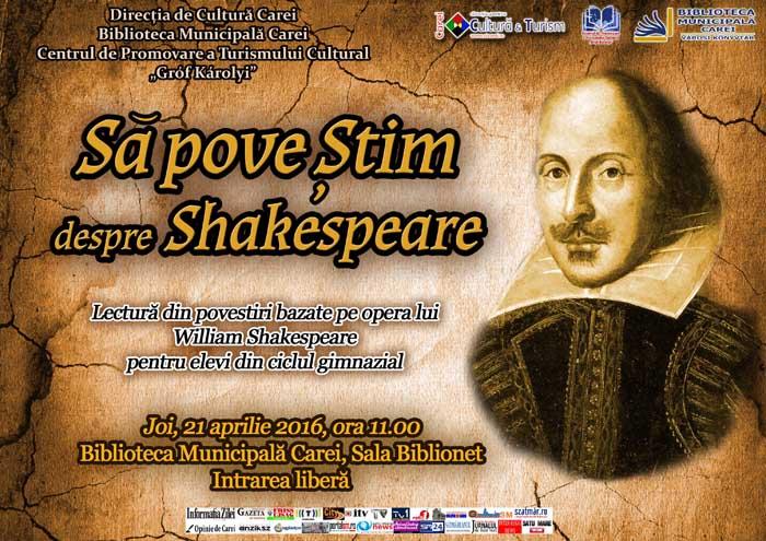 Afis Sa povestim despre Shakespeare press