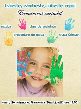 Spectacol caritabil pentru copiii orfani, vineri, la Filarmonica Dinu Lipatti