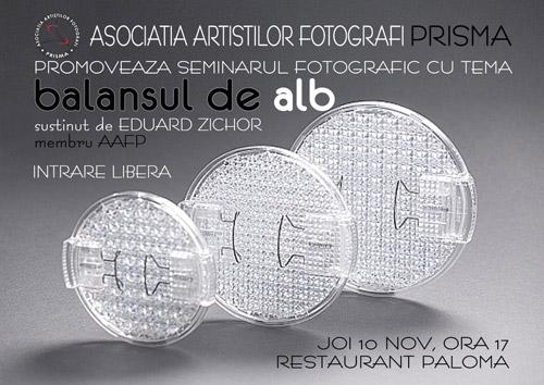 """""""Balansul de alb"""" – seminar de tehnică fotografică"""