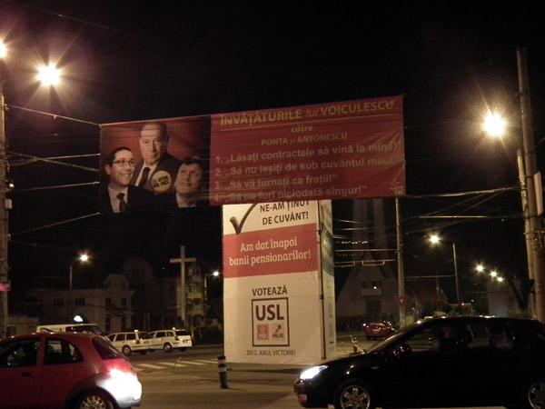 Bannerul anti-USL de la Burdea a fost urcat din nou pe stâlpi