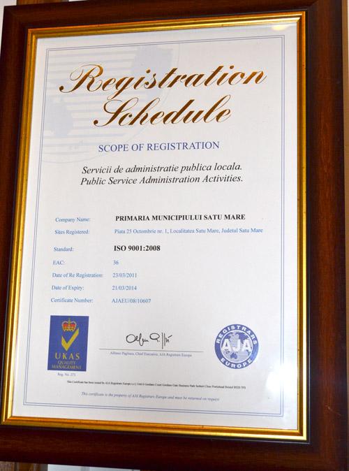 Audit de supraveghere a sistemului de management al calităţii în cadrul Primăriei Satu Mare