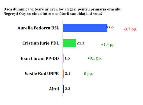 73% dintre negreșteni ar vota cu Aurelia Fedorca