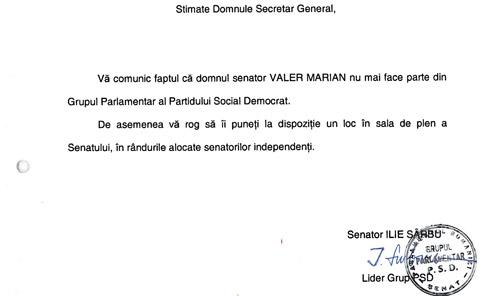 Valer Marian a fost exclus din grupul parlamentar PSD din Senat