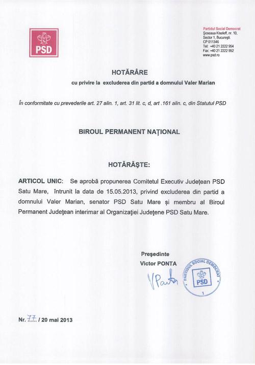 Dovada excluderii lui Valer Marian din PSD