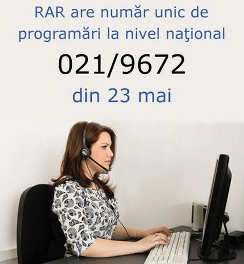 RAR are număr unic de programări la nivel naţional
