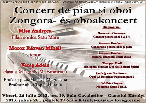 Concert de muzică clasică la Castelul Karolyi din Carei