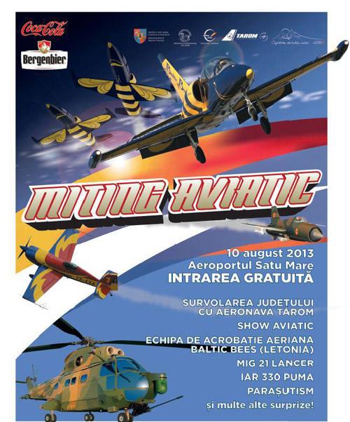 """Spectacol de acrobaţie aeriană la """"Mitingul Aviatic"""" din 10 august"""