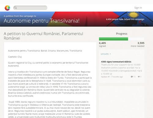 O petiţie pentru Autonomia Transilvaniei a strâns peste 6400 de semnături