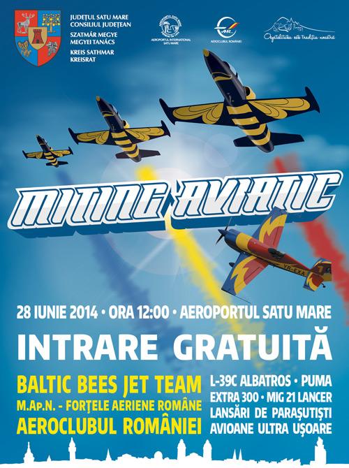 Miting aviatic, sâmbătă, pe Aeroportul Satu Mare