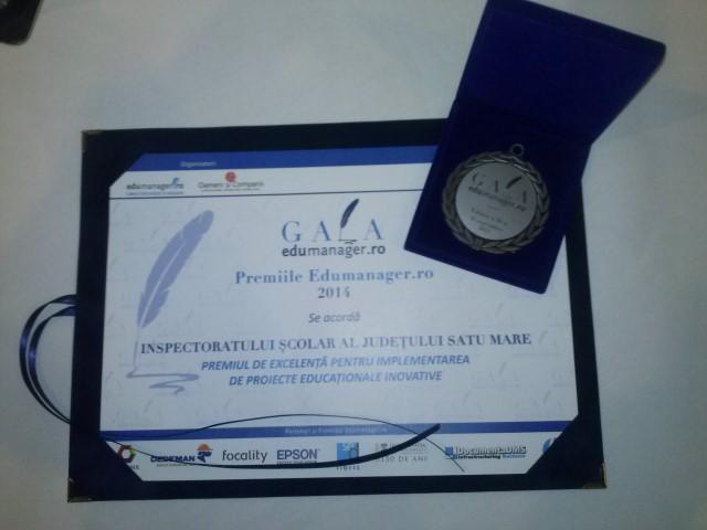 """IȘJ Satu Mare, premiat în cadrul """"Galei Premiilor Edumanager.ro"""""""