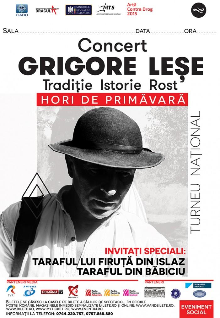 Grigore Leşe va concerta la Satu Mare