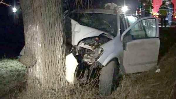 A intrat cu mașina într-un copac