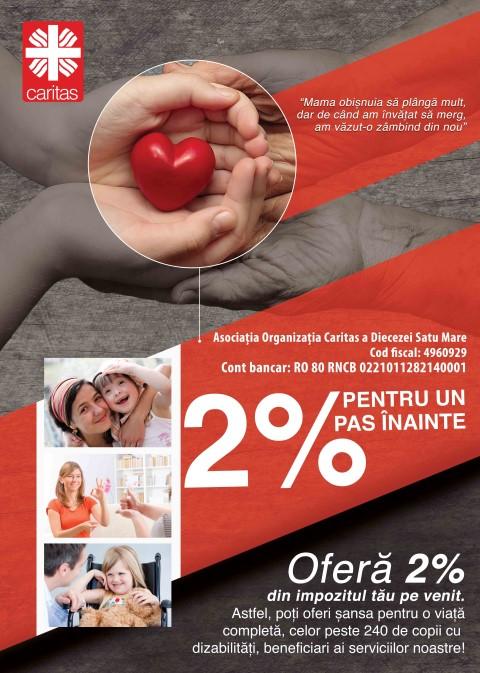 Caritas Satu Mare: Sprijiniţi cu 2% din impozitul pe venit copiii cu dizabilități