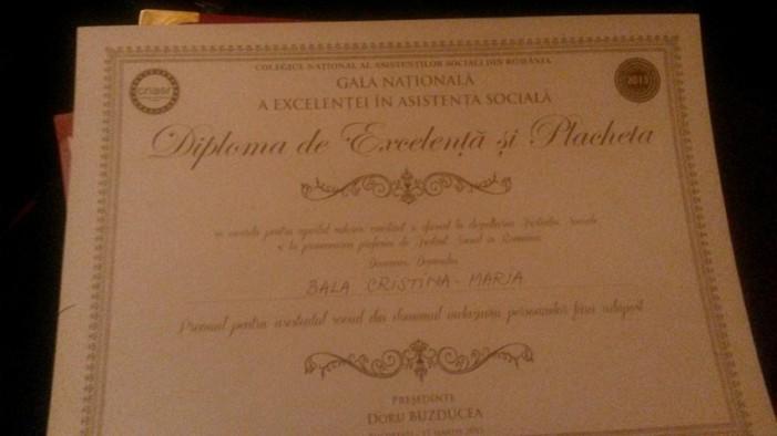 Sătmăreanca Cristina Bala, premiată la Gala Naţională a Excelenţei în Asistenţă Socială