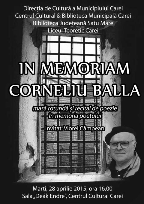Eveniment cultural dedicat scriitorului Corneliu Balla