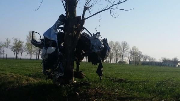 A rămas cu mașina încolăcită în copac