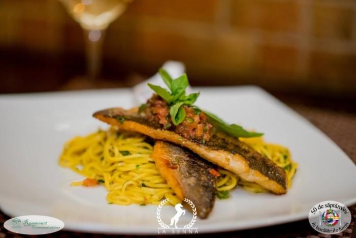 File de sibas cu spaghete și sos mediteranean