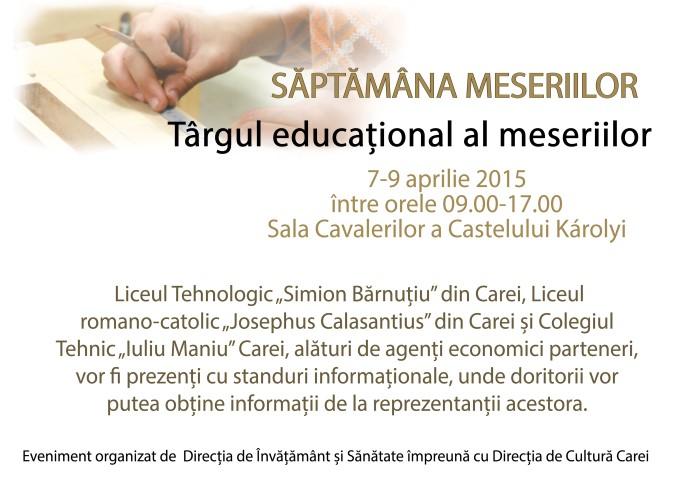 """""""Târgul educațional al meseriilor"""", organizat la Carei"""