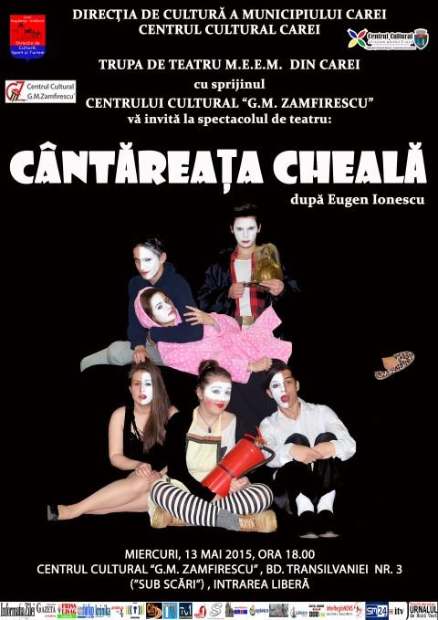 """""""Cântăreața cheală"""", pe scena Centrului Cultural """"G. M. Zamfirescu"""" din Satu Mare"""