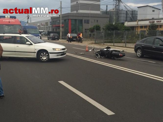 Motociclist din Satu Mare, rănit într-un accident în Baia Mare (Foto)