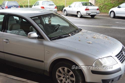 I-a căzut tavanul peste mașină