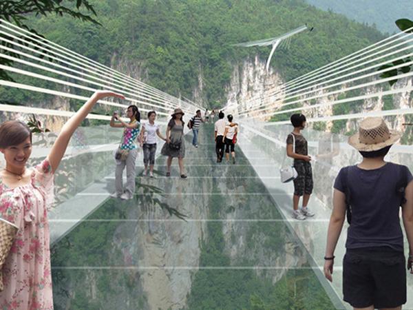 Chinezii au inaugurat primul pod suspendat din sticlă