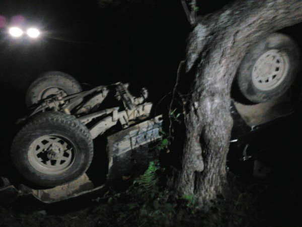 S-a răsturnat cu mașina într-un pârâu