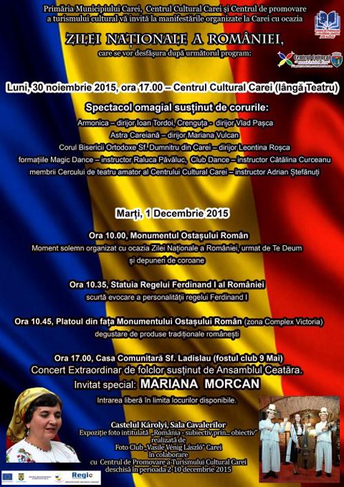 Vezi programul manifestărilor de la Carei, dedicate Zilei Naționale a României
