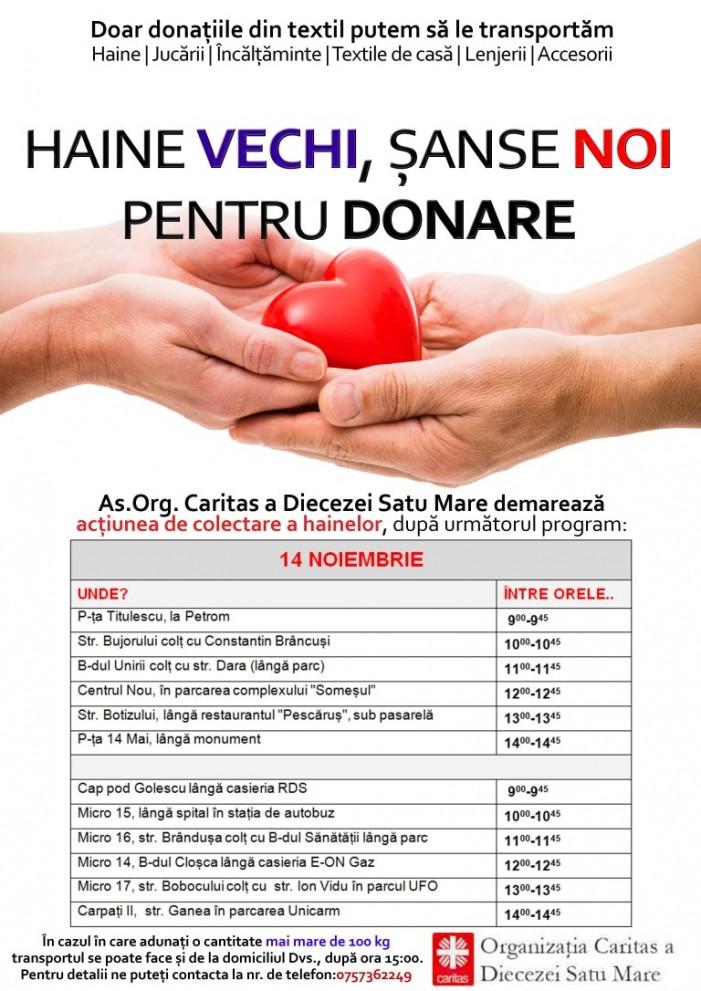 """Caritas Satu Mare: """"Haine vechi, șanse noi pentru donare !"""""""