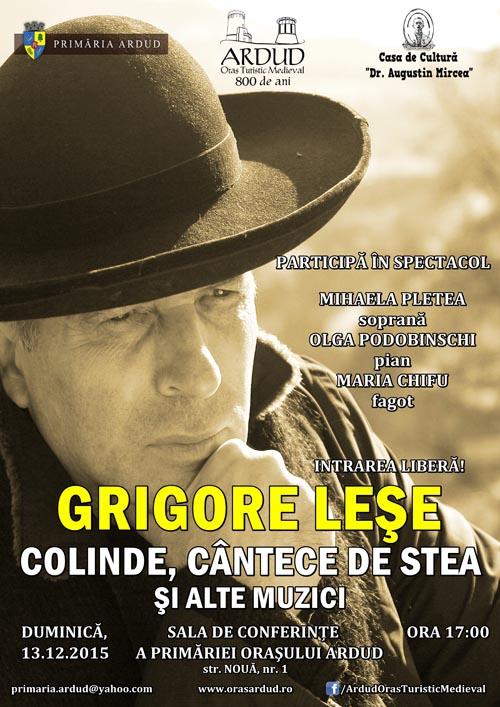 Grigore Leșe va susține un spectacol de colinde, în orașul Ardud