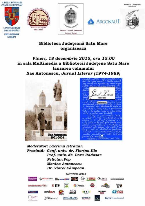 Jurnalul literar al lui Nae Antonescu va fi lansat și la Satu Mare