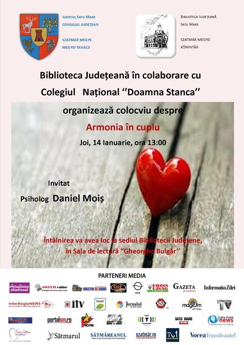 """Colocviu despre """"Armonia în cuplu"""" la Biblioteca Judeţeană Satu Mare"""