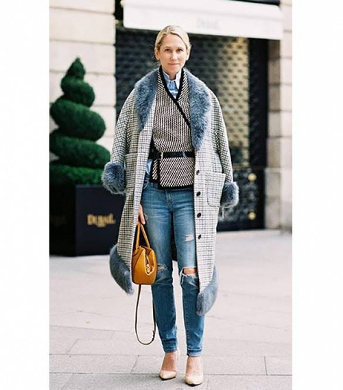 Cum să purtați blugii rupți iarna (Foto)