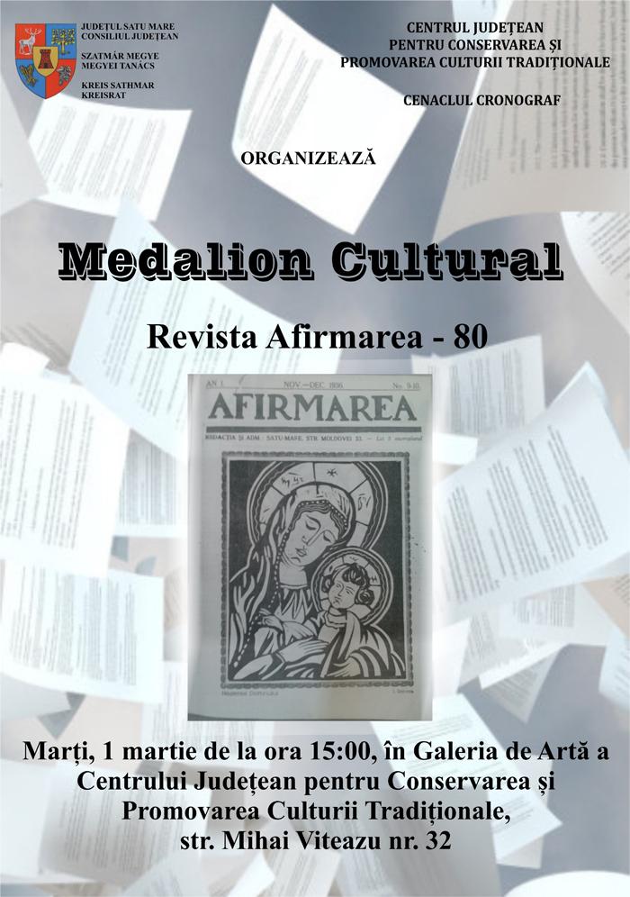 """Medalion cultural – 80 de ani de la apariția Revistei """"Afirmarea"""""""