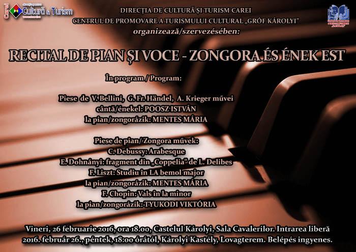 Recital de pian și voce la Castelul Karolyi
