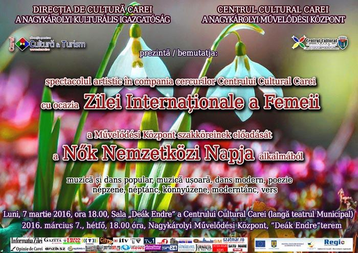 """Spectacol de """"Ziua Femeii"""" la Centrul Cultural din Carei"""