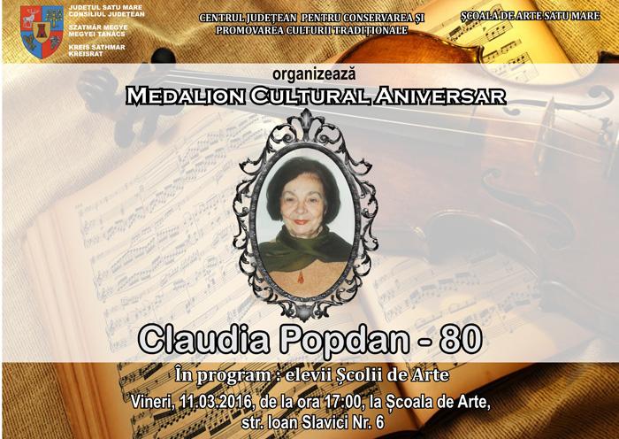 "Medalion Cultural Aniversar ""Claudia Popdan – 80"""