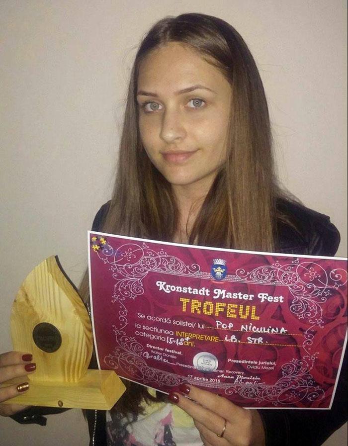 """Niculina Pop, câștigătoarea """"Marelui trofeu"""" de la """"Kronstadt Master Fest"""" Brașov"""