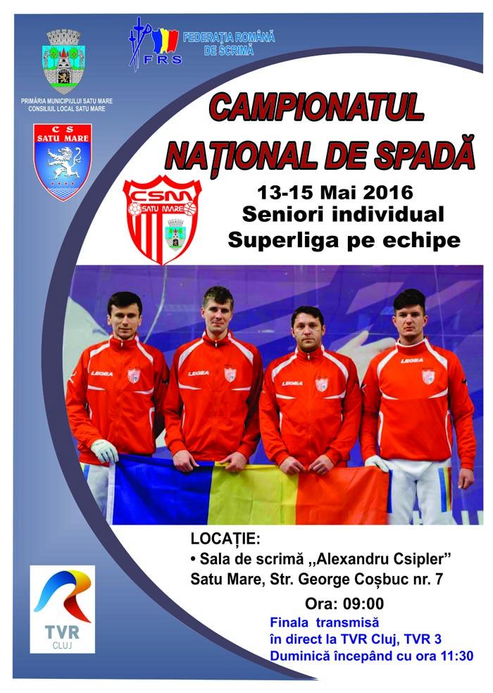 Spadă masculin: Campionatul Național de seniori se organizează la Satu Mare