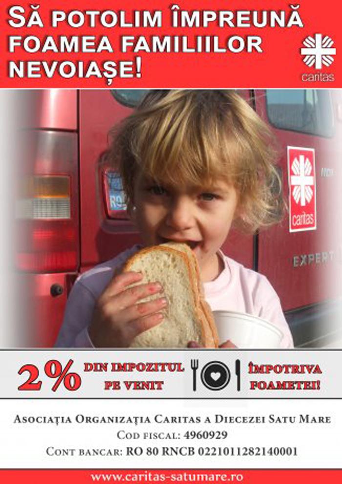 Caritas Satu Mare: Ultimele zile pentru oferirea celor 2% din impozitul pe venit
