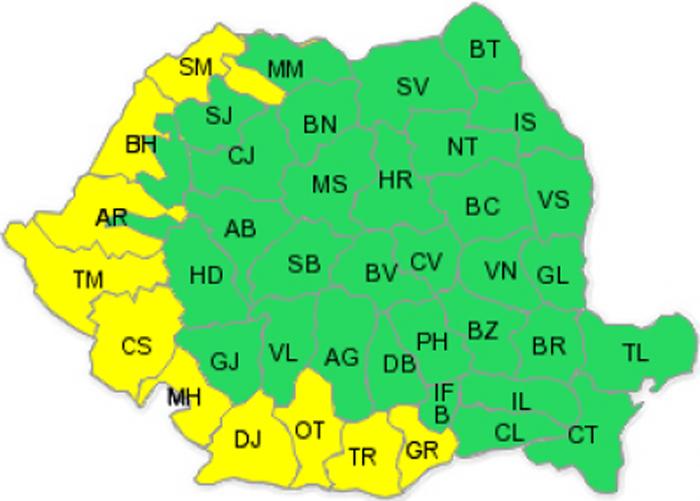 Cod galben de caniculă în județul Satu Mare