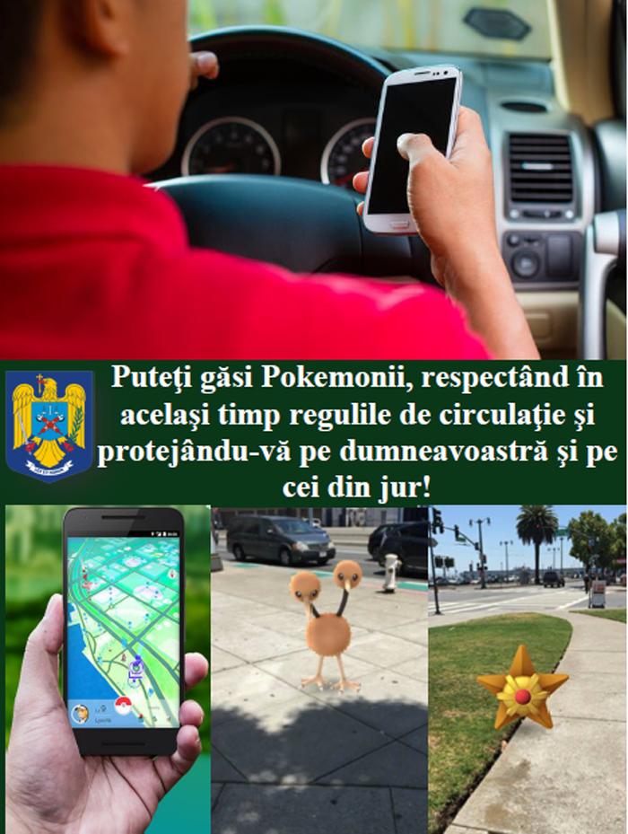 """Poliția Română: """"Puteţi găsi Pokemonii, respectând în acelaşi timp regulile de circulaţie"""""""