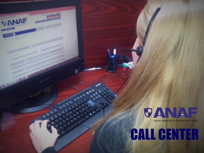 Îndrumare şi asistenţă telefonică prin Call Center-ul ANAF