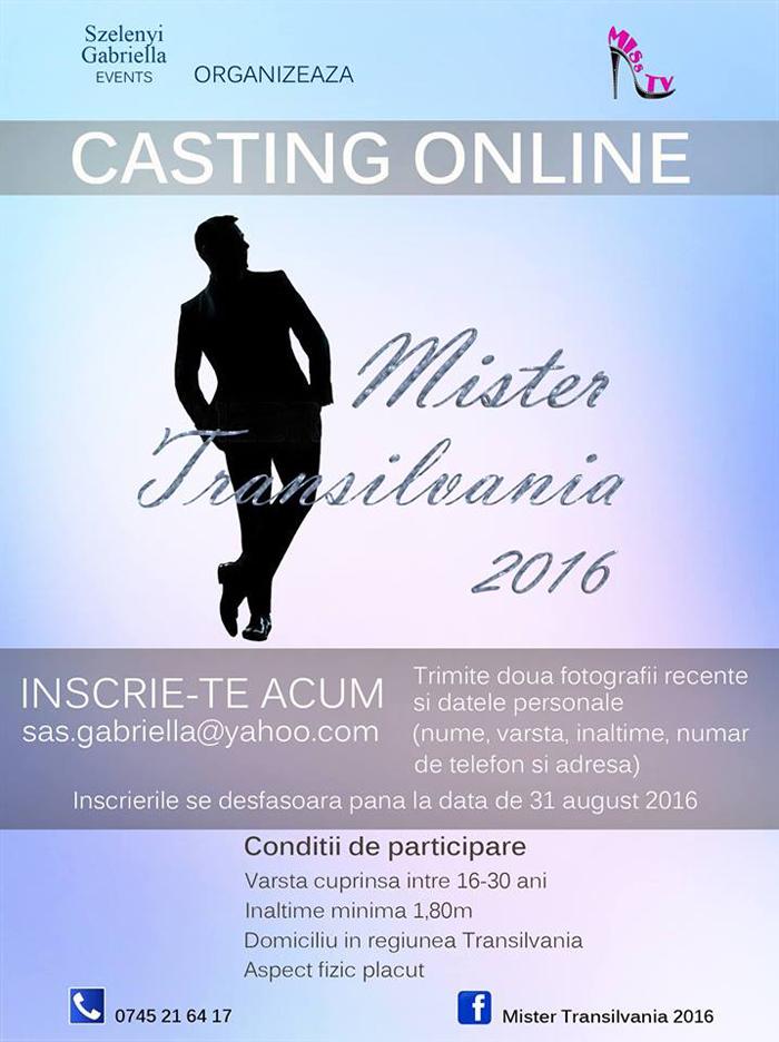 Casting online: Mister Transilvania 2016