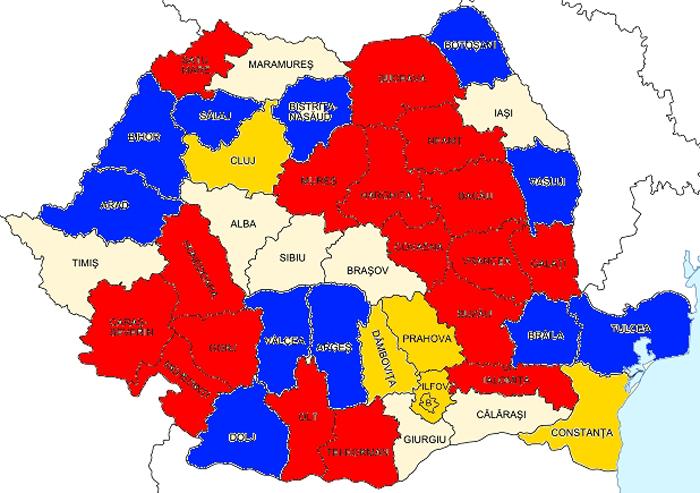 Harta dezvoltării economice în România. Satu Mare, sub media națională
