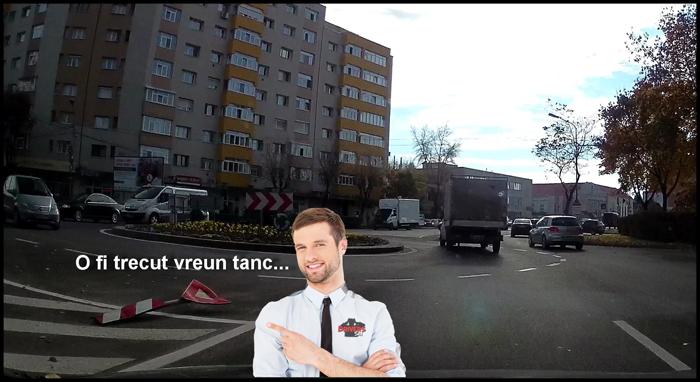"""""""Tancul"""" care a doborât indicatorul de pe Lucian Blaga, filmat de polițiștii locali"""