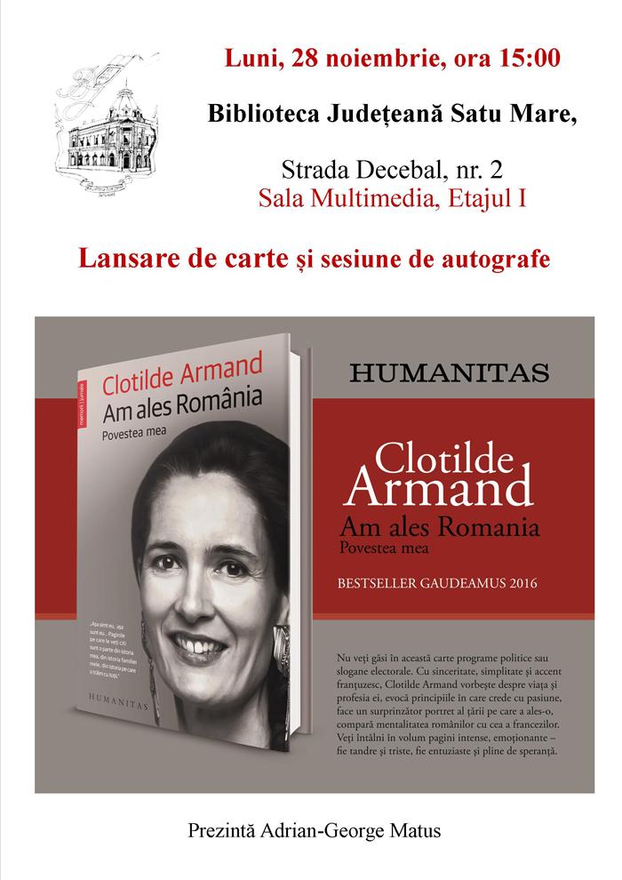"""Cartea """"Am ales România"""", prezentată publicului sătmărean"""