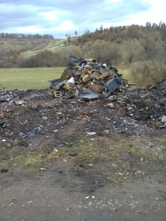 Deșeuri arse și abandonate lângă un drum național. Ce amendă au dat comisarii de mediu